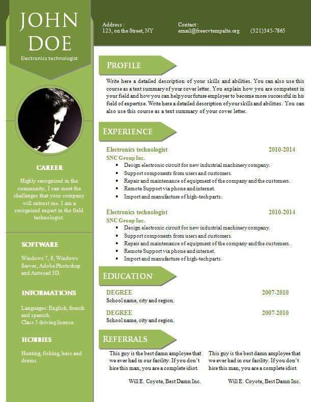Curriculum vitae resume word template #904 – 910 – freecvtemplate.org