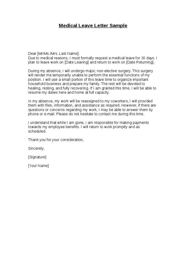 Medical Leave Letter Sample - Hashdoc