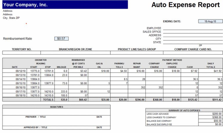 Auto Expense Report Templates : vlashed