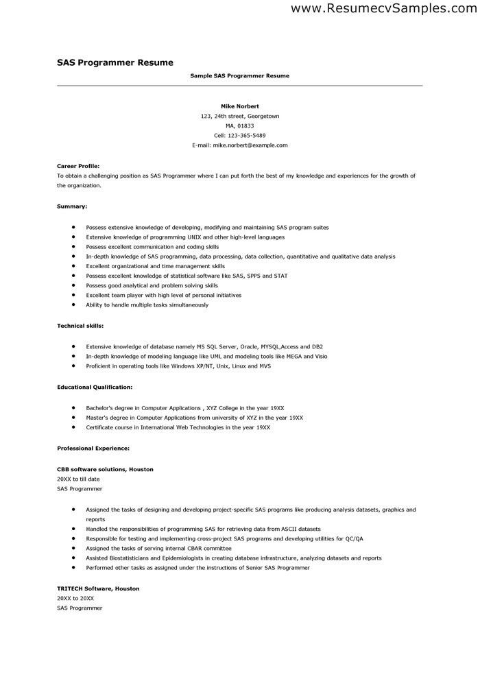 about author. programming resume examples sample software ...