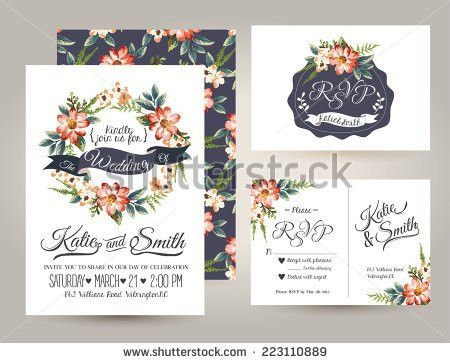 Wedding Invitation Card Suite Daisy Flower Stock Vector 223110889 ...