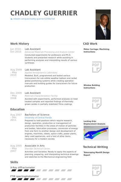 Lab Assistant Resume samples - VisualCV resume samples database