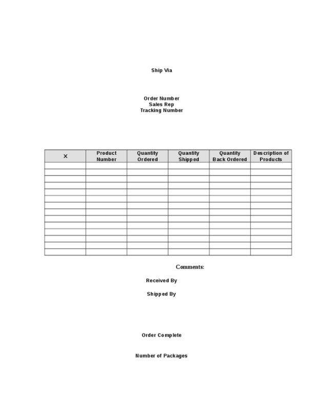 Blank Shipping and Packing Slip Template / Form : Helloalive