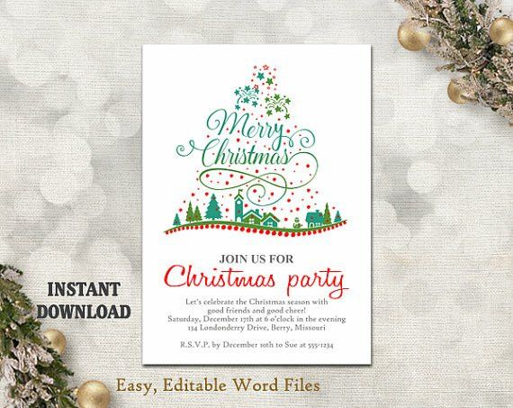 Christmas Party Invitation Template - Printable Christmas Tree ...