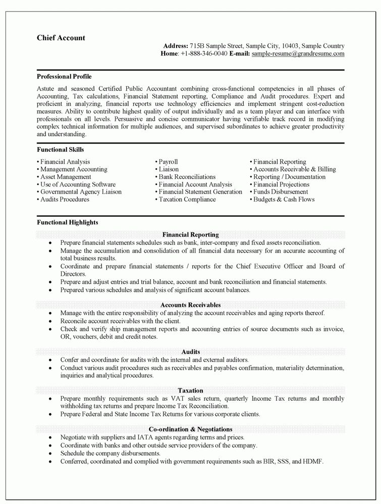 Resume Sample For Accountant Position - Gallery Creawizard.com