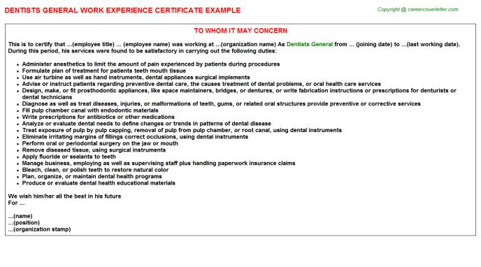 Dentists General Work Experience Certificate