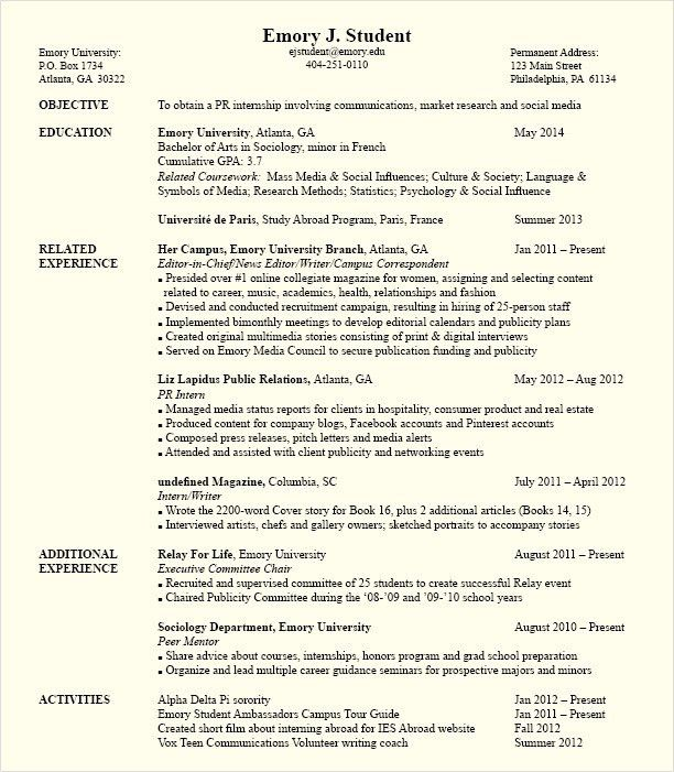 example of resume for internship career center internship resume