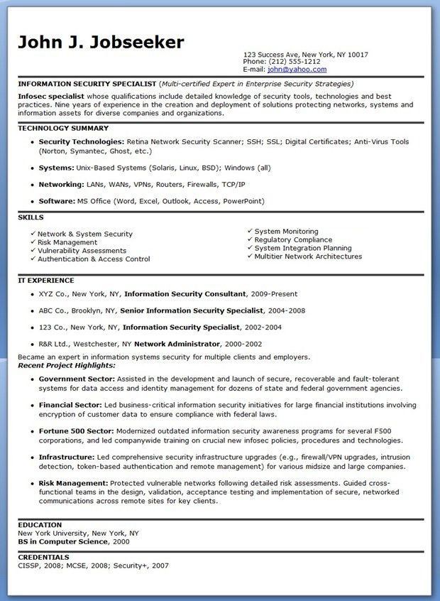 Information Security Specialist Resume Sample | Creative Resume ...
