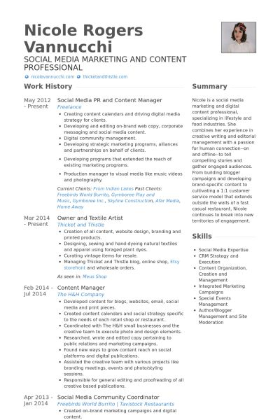 Content Manager Resume samples - VisualCV resume samples database