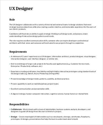 Marvelous UX Designer Job Description Sample   9+ Examples In Word, PDF