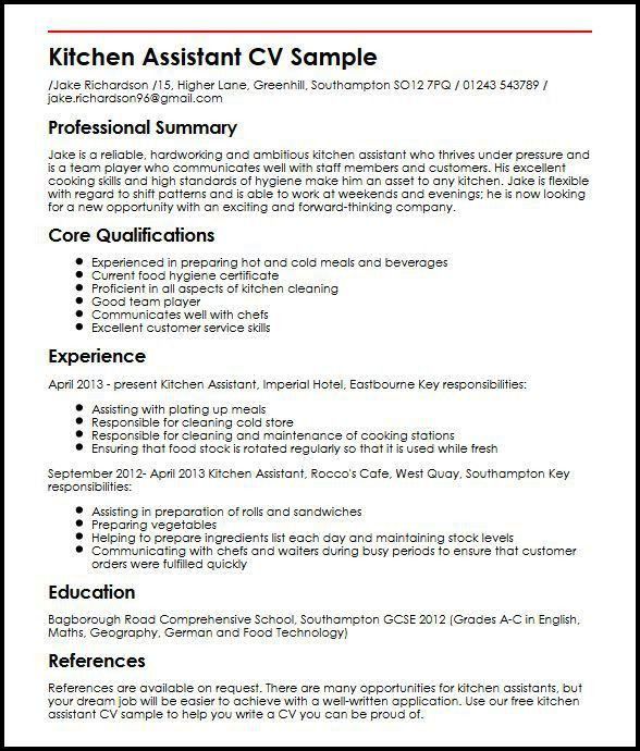 Kitchen Assistant CV Sample | MyperfectCV