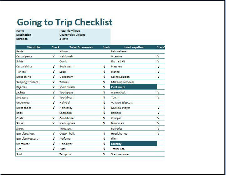 MS Excel Going to Trip Checklist Template | Word & Excel Templates
