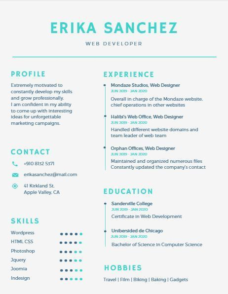 26 best Floral CV / resume templates images on Pinterest | Resume ...