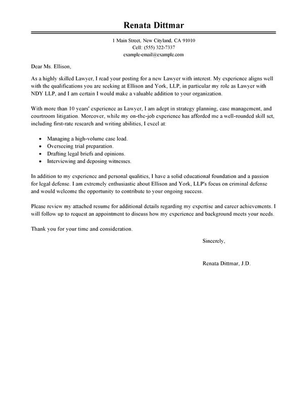 Best Lawyer Cover Letter Examples | LiveCareer