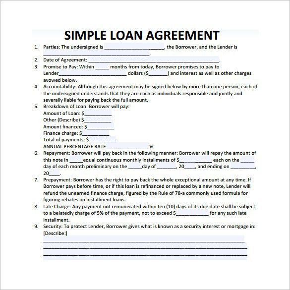 Loan Agreement Templates – Word Excel PDF – Get Calendar Templates