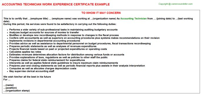 Accounting Technician Work Experience Certificate