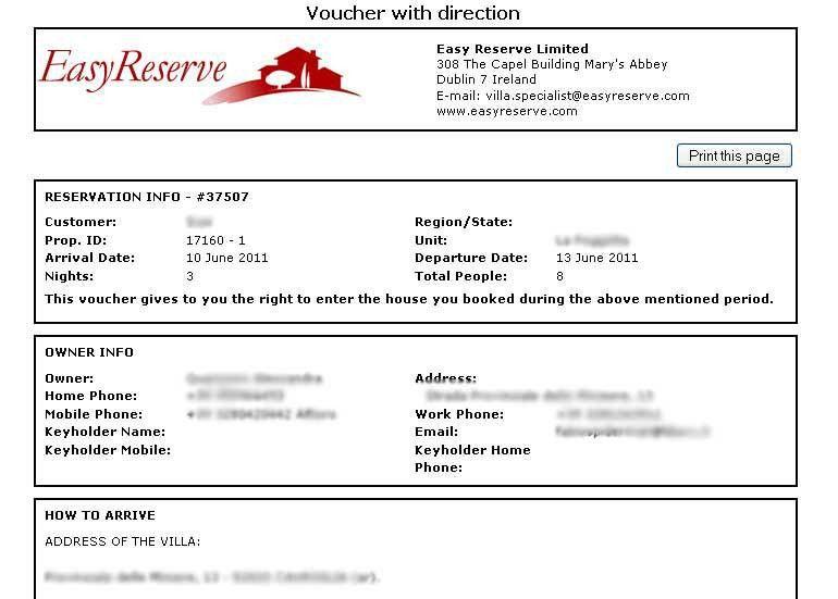 Easy Reserve Travel Agent Program Sample Reports