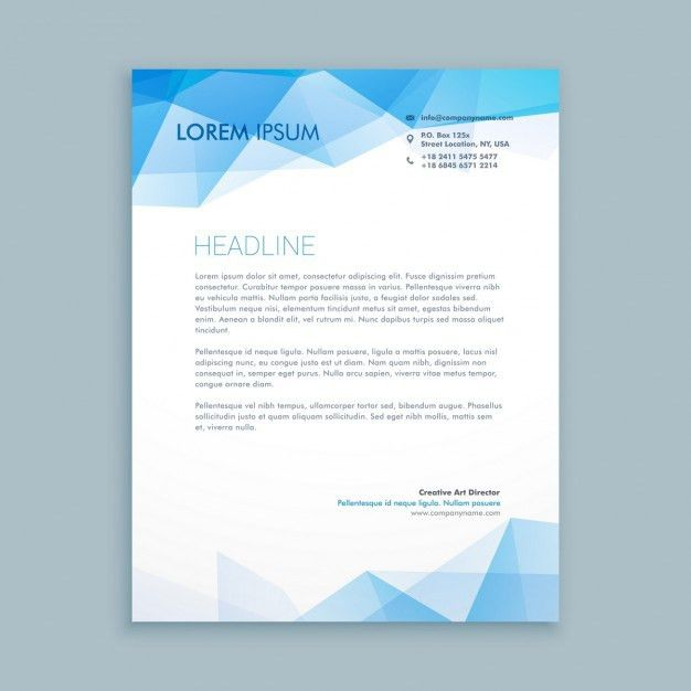 Blue abstract shapes letterhead template Vector | Free Download