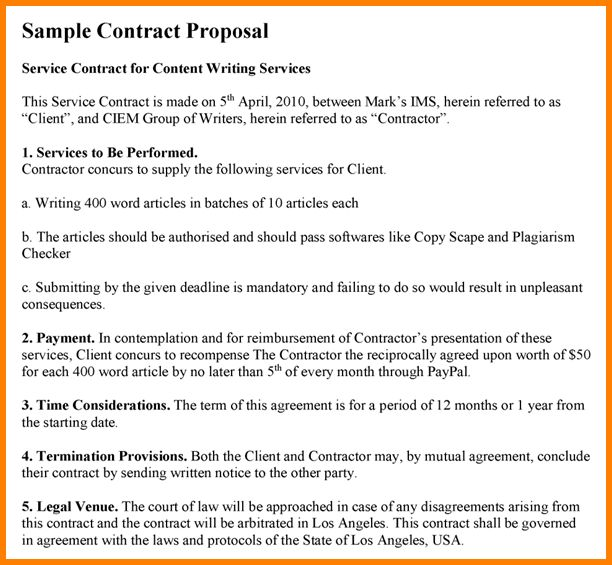 6+ contract proposal sample | Proposal Template 2017