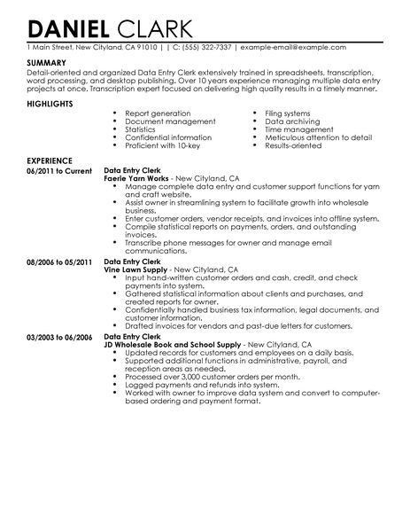 Resume Examples For Clerical Jobs. 100 job resume templates best ...