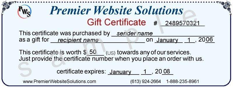 Premier Website Solutions - Gift Certificates