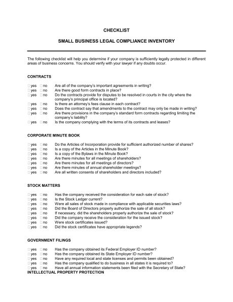 Checklist Small Business Legal Compliance Inventory - Template ...