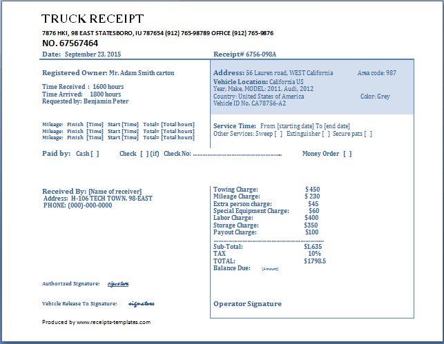 Truck Receipt Template Free | Receipt Templates