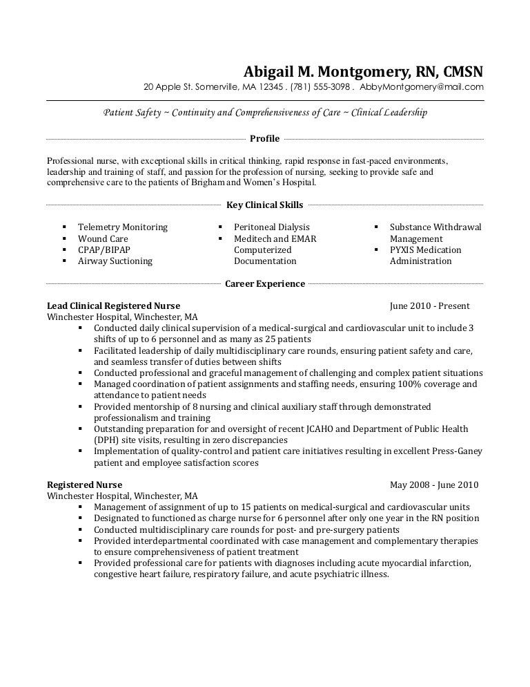 Registered Nurse Resume Medical Surgical Sample Resume Of Med .  Critical Care Nursing Resume