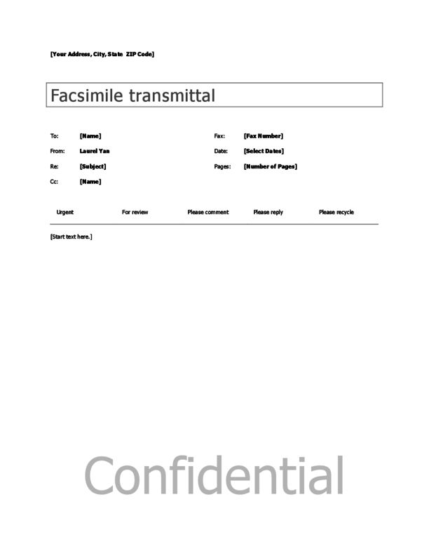 Generic Fax Cover Sheet Template 3 | LegalForms.org