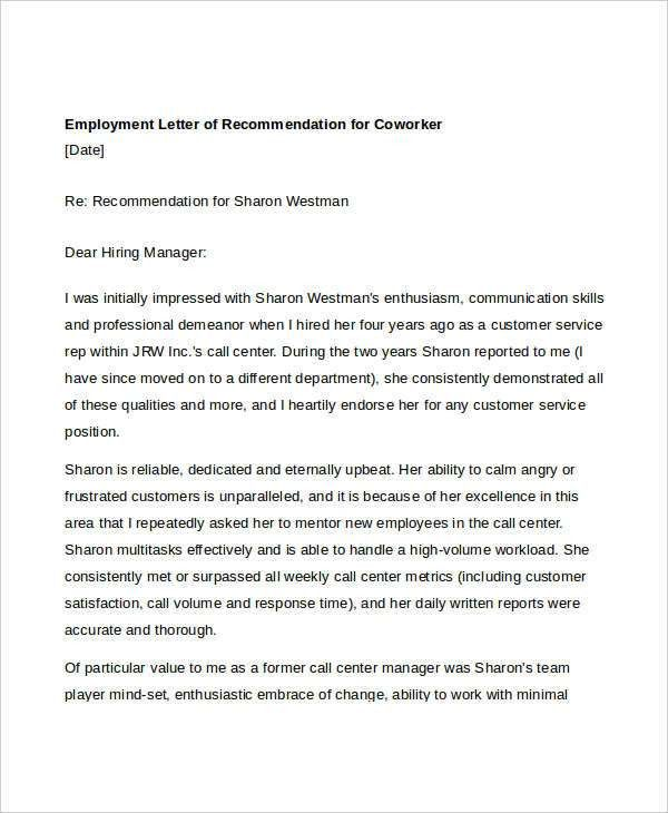 Coworker Recommendation Letter- 10+ Free Word, PDF Documents ...