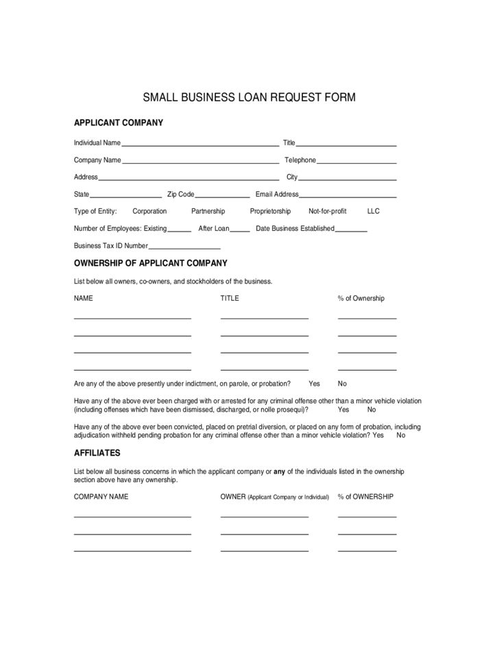 Small Business Loan Application Form Free Download