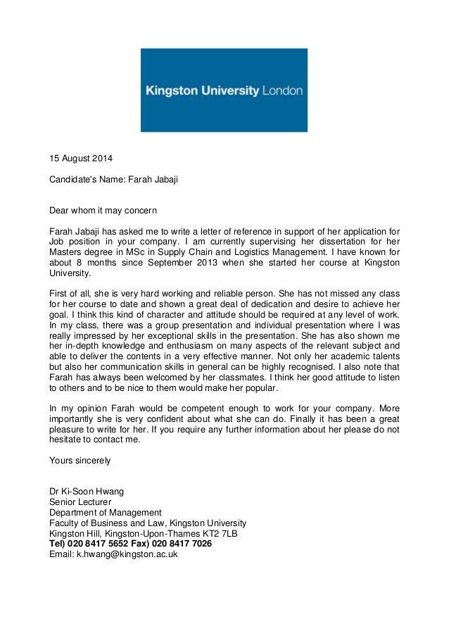 Academic Reference letter (Kingston university)
