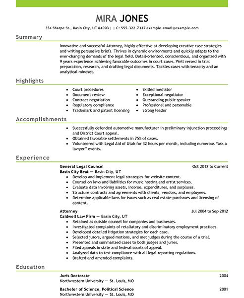 contract attorney resume sample
