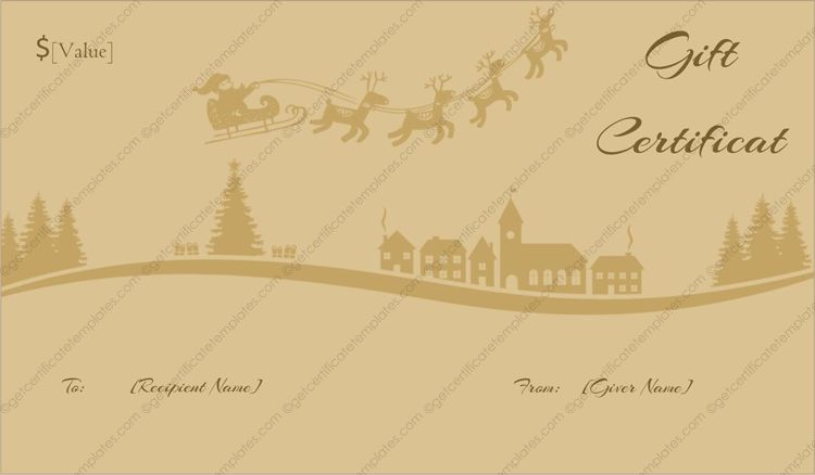 Sleigh Ride Christmas Gift Certificate Template