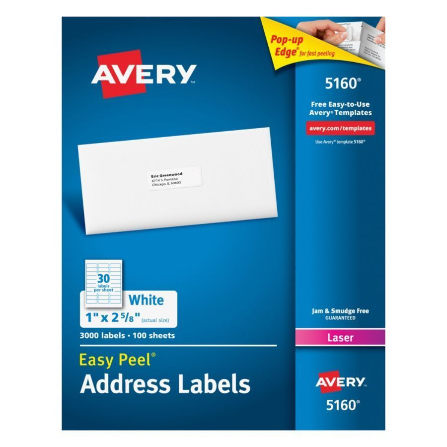 Avery Easy Peel White Laser Address Labels 1 x 2 58 Box Of 3000 by ...