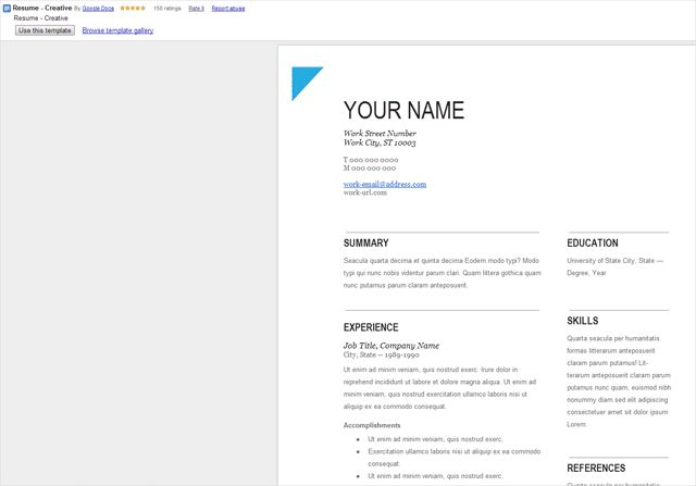 Google Docs Resume Template | haadyaooverbayresort.com