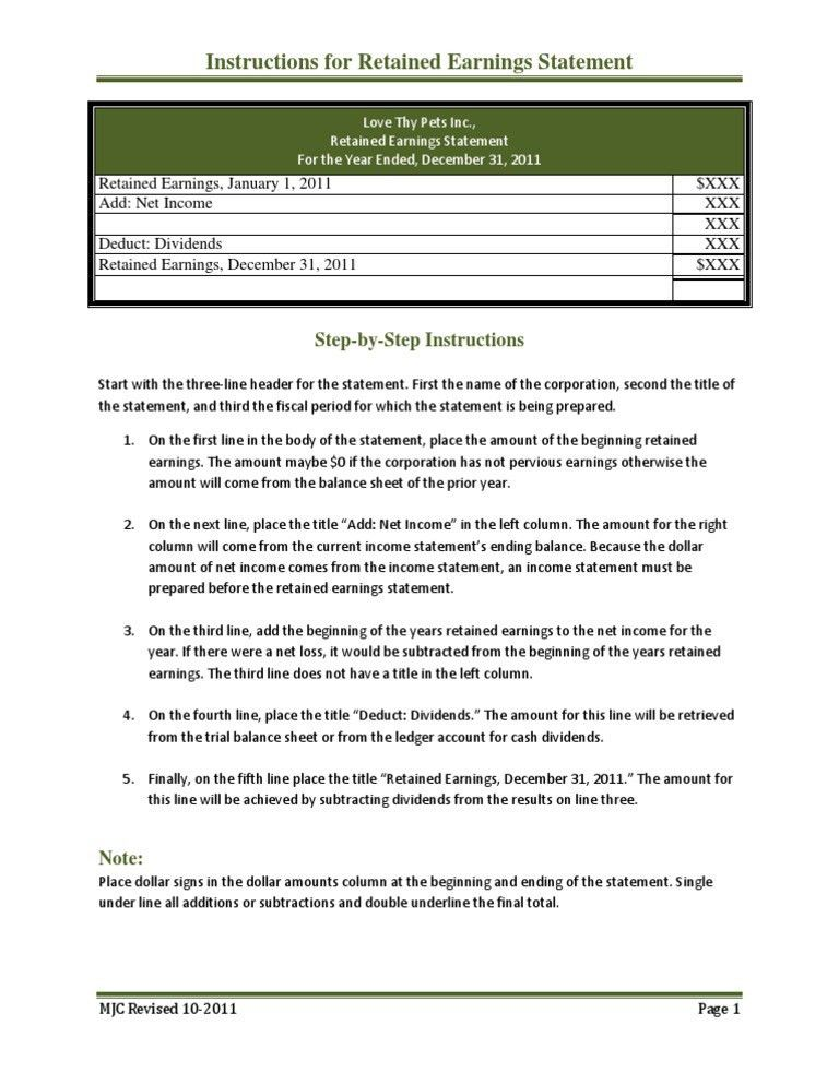 Basic Instructions for a Simple Income Statement