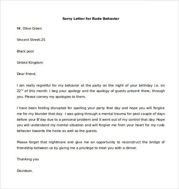 Letter Of Personal Apology Sample Personal Apology Letter 6