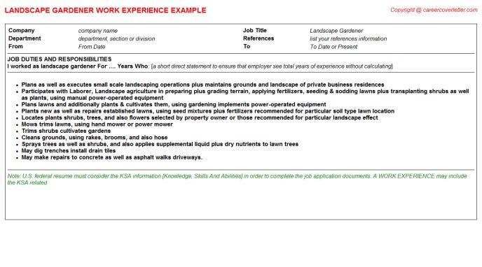 Landscape Gardener CV Work Experience Samples