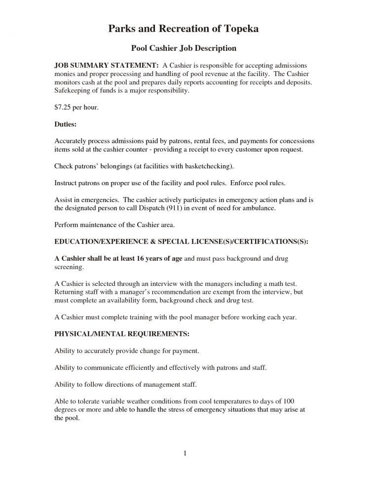 Restaurant Cashier Job Description Pdf Fast Food Cashier Job ...