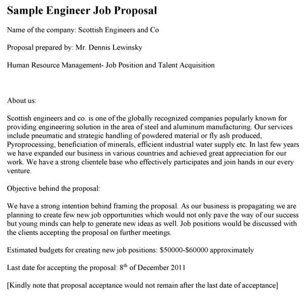 Engineer Job Proposal Template