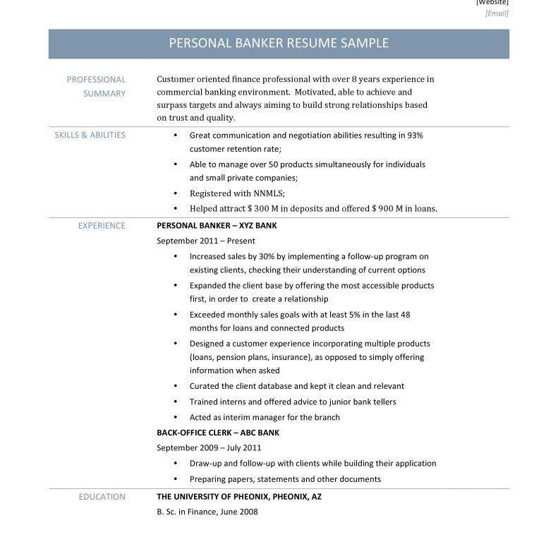 personal banker resume samples