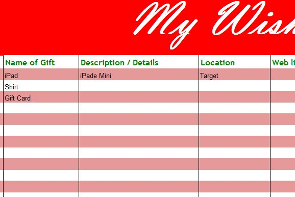 My Holiday Wish List - My Excel Templates
