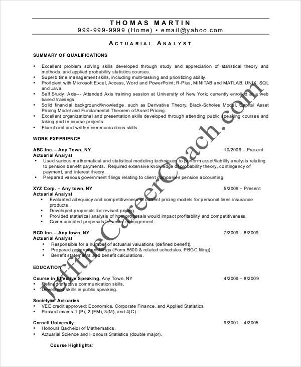 Actuarial Resume Template - 5+ Free Word, PDF Documents Download ...