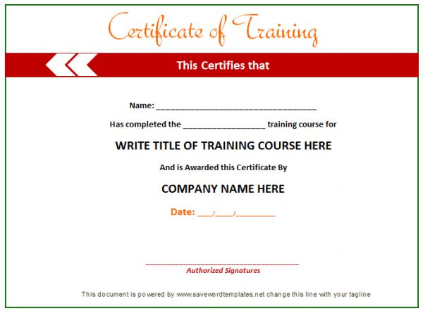 Training Certificate from word templates online | Certificates ...