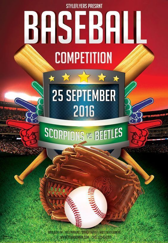 Baseball League Series Flyer   Baseball league, Flyer template and ...