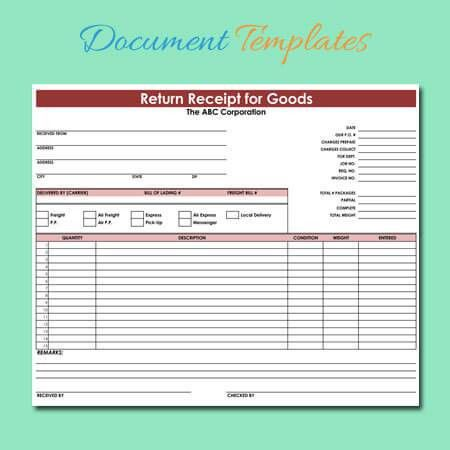 Goods Return Receipt Templates - Download for Excel