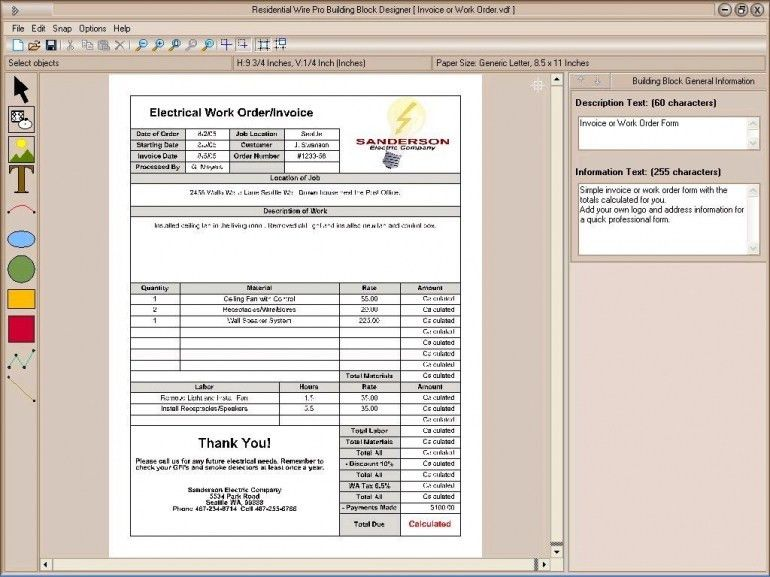 Electrical Contractor Invoice Template Free | Design Invoice Template