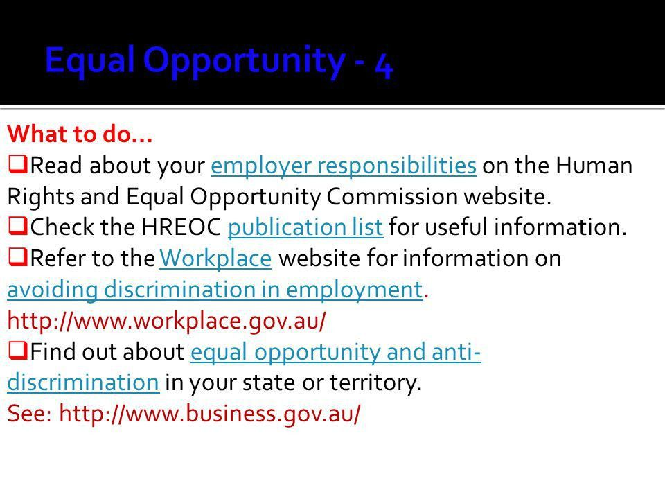 1. In Australia national and local laws cover equal employment ...