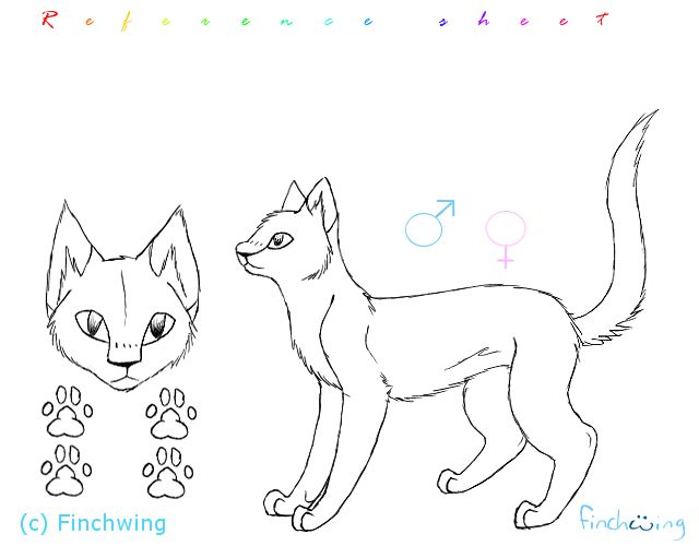 Cat reference sheet template by Finchwing on DeviantArt